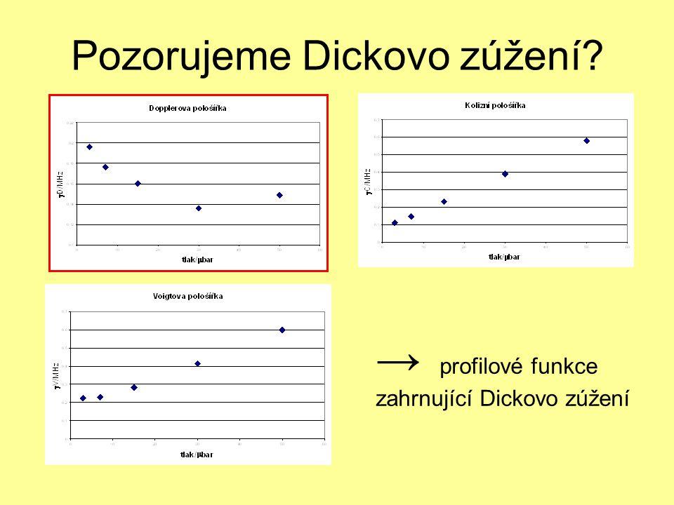 Pozorujeme Dickovo zúžení → profilové funkce zahrnující Dickovo zúžení