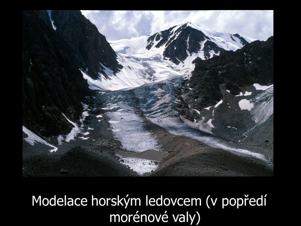 Modelace horským ledovcem (v popředí morénové valy)