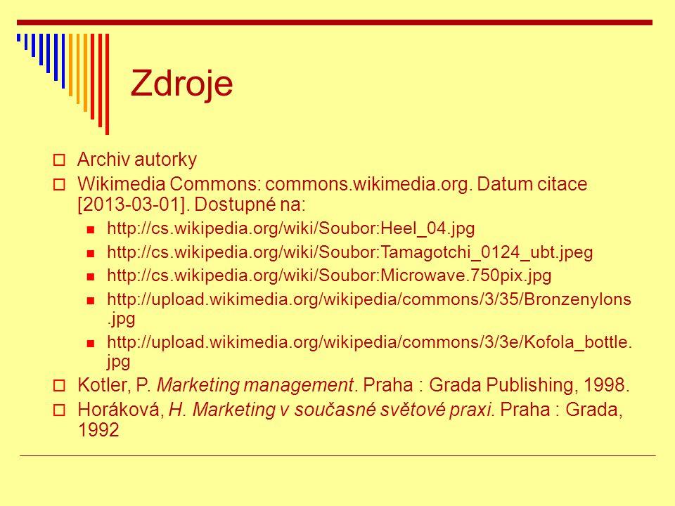 Zdroje  Archiv autorky  Wikimedia Commons: commons.wikimedia.org. Datum citace [2013-03-01]. Dostupné na: http://cs.wikipedia.org/wiki/Soubor:Heel_0