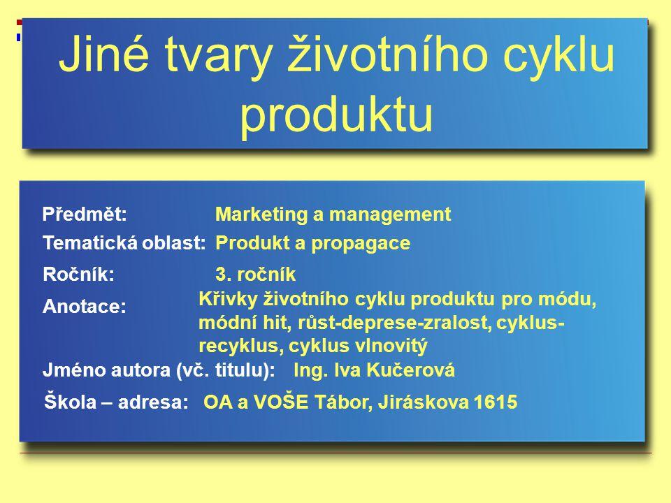 Jiné tvary životního cyklu výrobku Některé typy výrobků mají jiný tvar křivky životního cyklu.