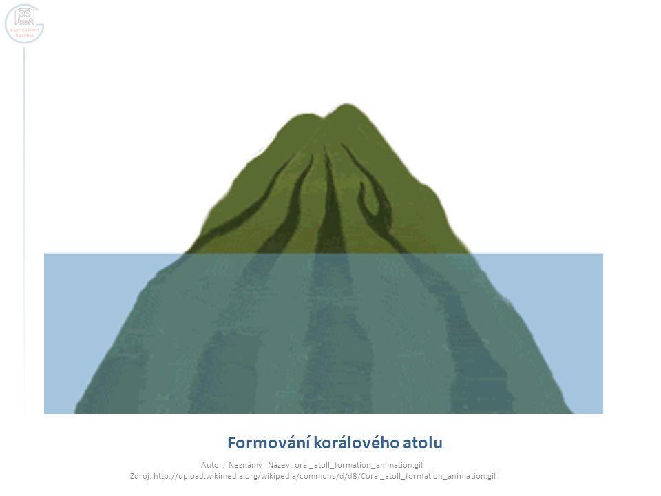 Formování korálového atolu Autor: Neznámý Název: oral_atoll_formation_animation.gif Zdroj: http://upload.wikimedia.org/wikipedia/commons/d/d8/Coral_atoll_formation_animation.gif