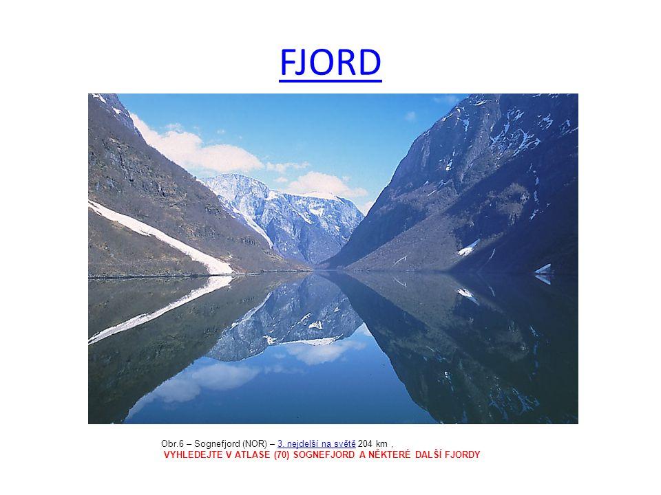 FJORD Obr.6 – Sognefjord (NOR) – 3.nejdelší na světě 204 km,3.
