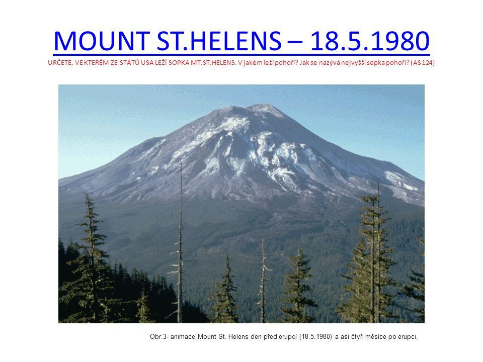 MOUNT ST.HELENS – 18.5.1980 MOUNT ST.HELENS – 18.5.1980 URČETE, VE KTERÉM ZE STÁTŮ USA LEŽÍ SOPKA MT.ST.HELENS.