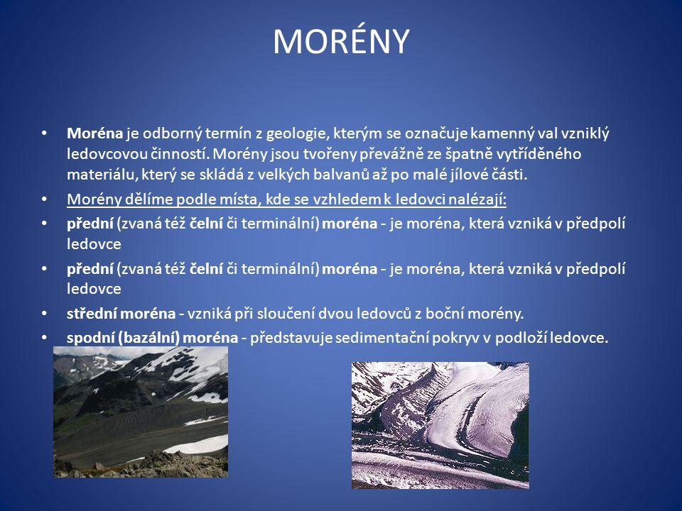 MORÉNY Moréna je odborný termín z geologie, kterým se označuje kamenný val vzniklý ledovcovou činností.