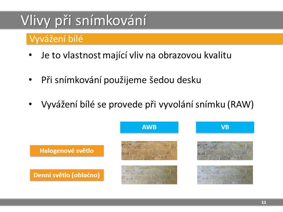 11 Vlivy při snímkování Vyvážení bílé Je to vlastnost mající vliv na obrazovou kvalitu Při snímkování použijeme šedou desku Vyvážení bílé se provede při vyvolání snímku (RAW) Halogenové světlo Denní světlo (oblačno) AWB VB