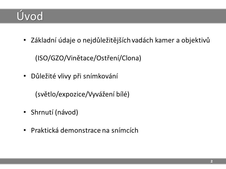 2 Úvod Základní údaje o nejdůležitějších vadách kamer a objektivů (ISO/GZO/Vinětace/Ostření/Clona) Důležité vlivy při snímkování (světlo/expozice/Vyvážení bílé) Shrnutí (návod) Praktická demonstrace na snímcích