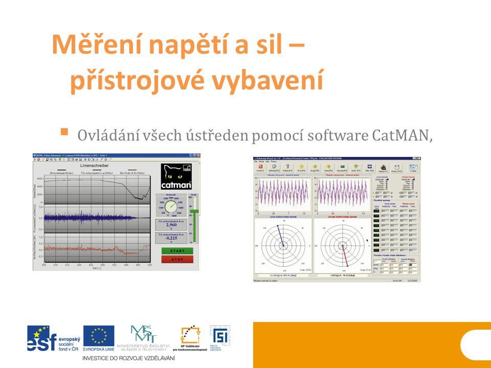  Ovládání všech ústředen pomocí software CatMAN, Měření napětí a sil – přístrojové vybavení