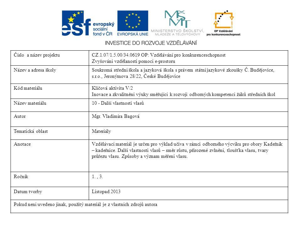 Číslo a název projektuCZ.1.07/1.5.00/34.0619 OP: Vzdělávání pro konkurenceschopnost Zvyšování vzdělanosti pomocí e-prostoru Název a adresa školySoukro