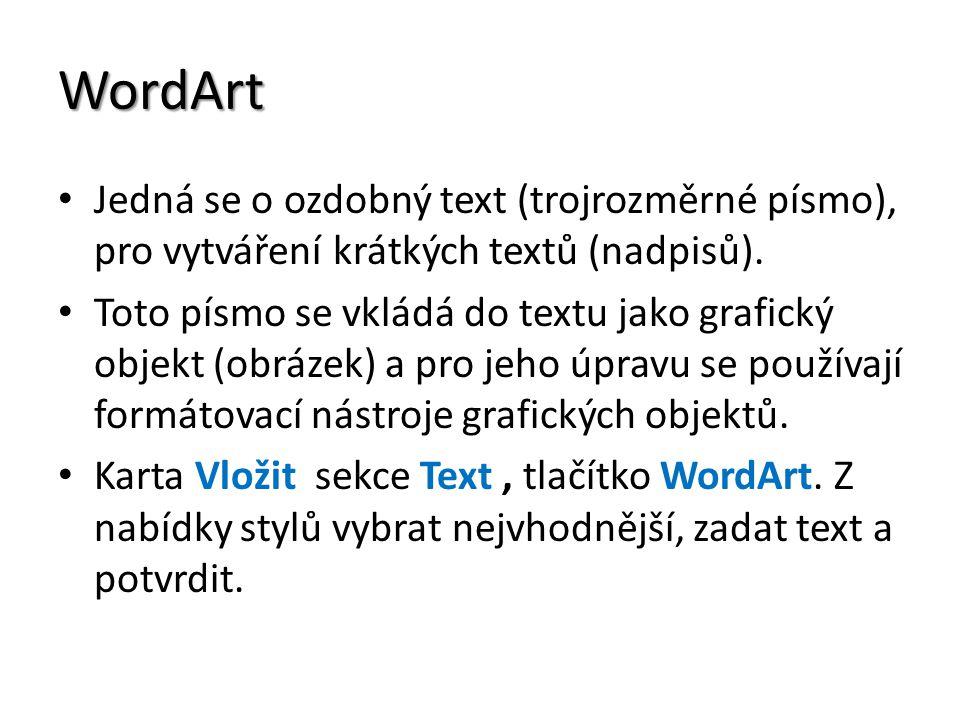 WordArt Jedná se o ozdobný text (trojrozměrné písmo), pro vytváření krátkých textů (nadpisů). Toto písmo se vkládá do textu jako grafický objekt (obrá