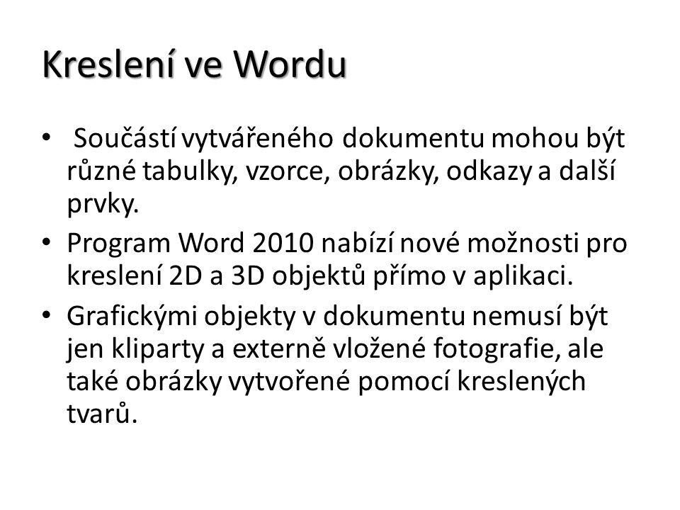 Kreslení ve Wordu Součástí vytvářeného dokumentu mohou být různé tabulky, vzorce, obrázky, odkazy a další prvky. Program Word 2010 nabízí nové možnost