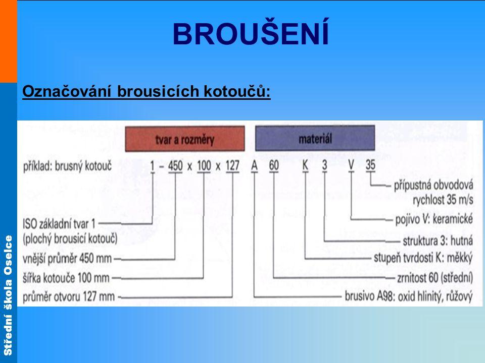 Střední škola Oselce BROUŠENÍ Označování brousicích kotoučů: