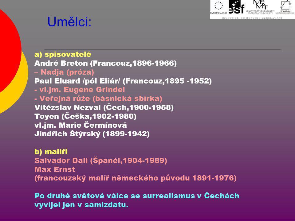 Umělci: a) spisovatelé André Breton (Francouz,1896-1966) – Nadja (próza) Paul Eluard /pól Eliár/ (Francouz,1895 -1952) - vl.jm. Eugene Grindel - Veřej