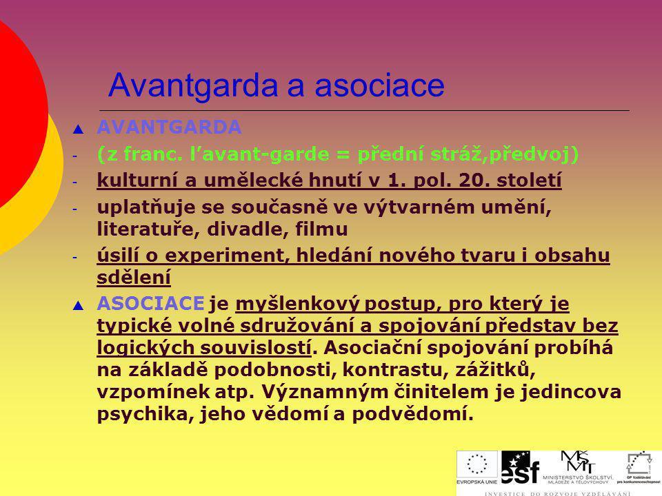 Avantgarda a asociace  AVANTGARDA - (z franc. l'avant-garde = přední stráž,předvoj) - kulturní a umělecké hnutí v 1. pol. 20. století - uplatňuje se