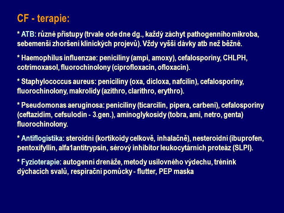 CF - terapie: * ATB: různé přístupy (trvale ode dne dg., každý záchyt pathogenního mikroba, sebemenší zhoršení klinických projevů). Vždy vyšší dávky a