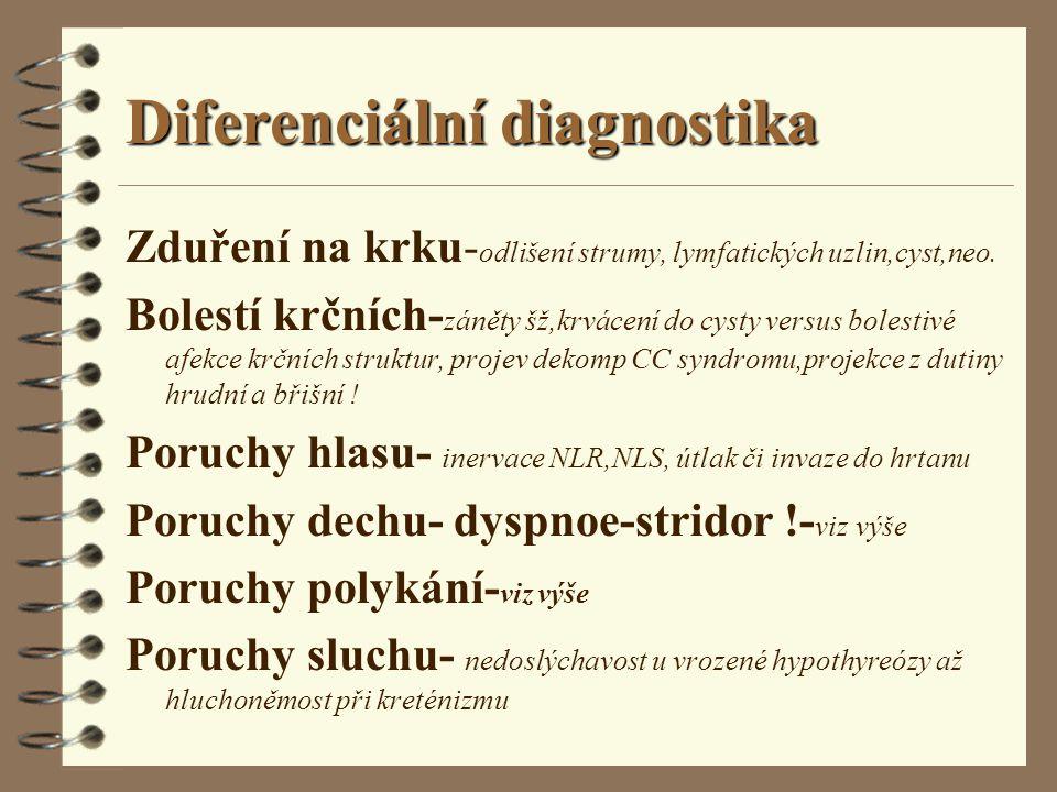 Diferenciální diagnostika Zduření na krku- odlišení strumy, lymfatických uzlin,cyst,neo. Bolestí krčních- záněty šž,krvácení do cysty versus bolestivé