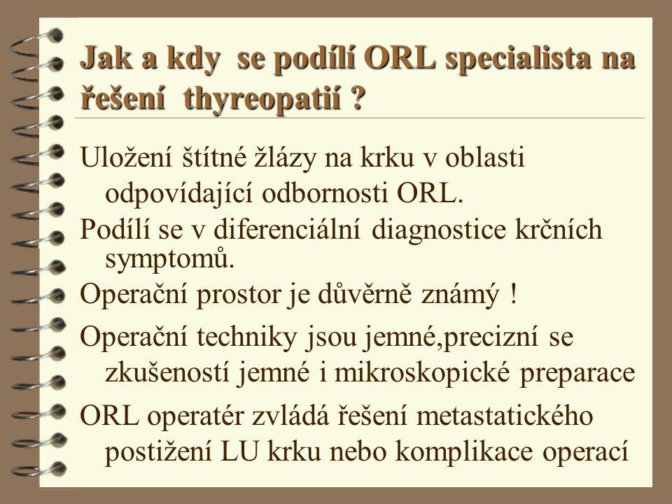 Jak a kdy se podílí ORL specialista na řešení thyreopatií ? Uložení štítné žlázy na krku v oblasti odpovídající odbornosti ORL. Podílí se v diferenciá