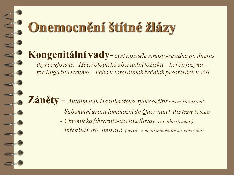 Onemocnění štítné žlázy Kongenitální vady- cysty,píštěle,sinusy.-residua po ductus thyreoglossus. Heterotopická aberantní ložiska - kořen jazyka- tzv.
