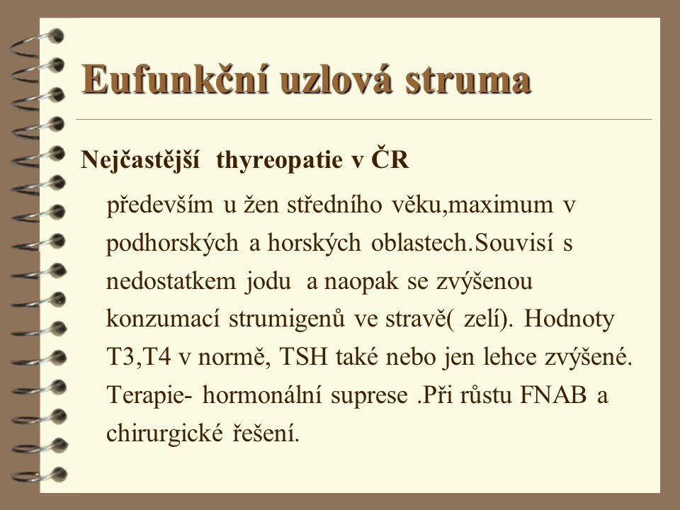 Eufunkční uzlová struma Nejčastější thyreopatie v ČR především u žen středního věku,maximum v podhorských a horských oblastech.Souvisí s nedostatkem j