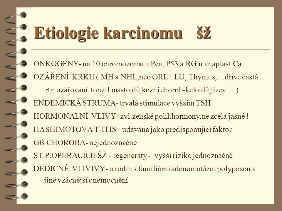 Etiologie karcinomu šž ONKOGENY- na 10 chromozomu u Pca, P53 a RG u anaplast.Ca OZÁŘENÍ KRKU ( MH a NHL,neo ORL+ LU, Thymus,…dříve častá rtg.ozářování