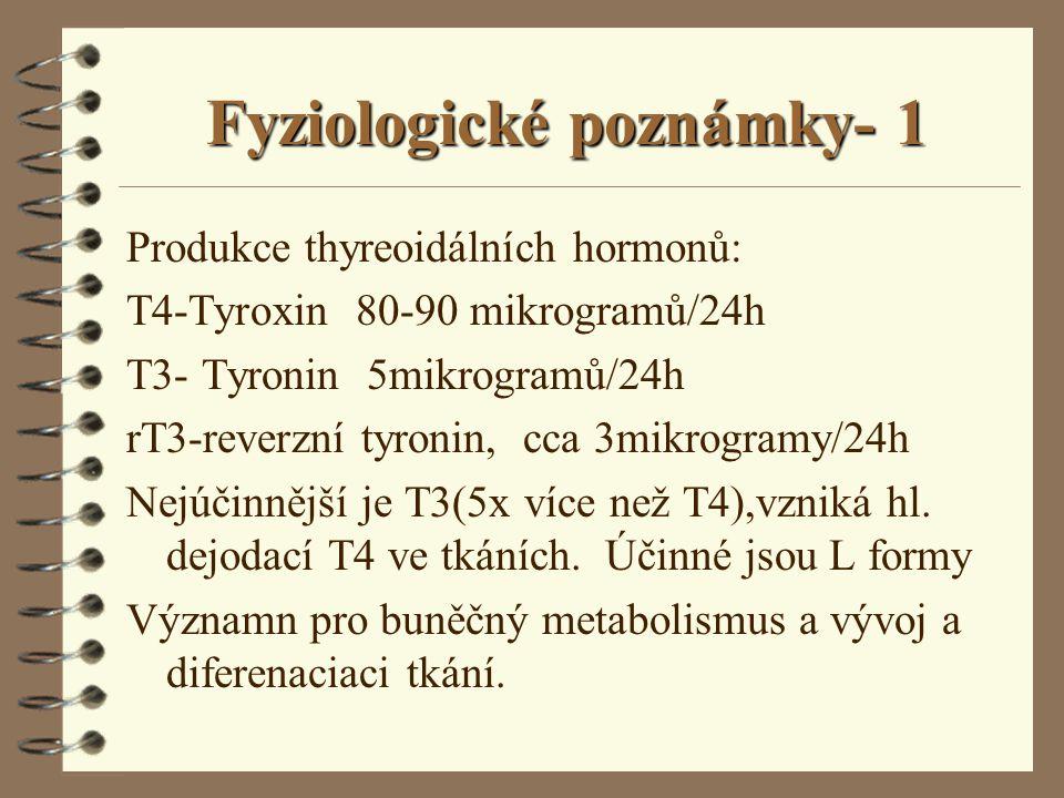 Fyziologické poznámky- 1 Produkce thyreoidálních hormonů: T4-Tyroxin 80-90 mikrogramů/24h T3- Tyronin 5mikrogramů/24h rT3-reverzní tyronin, cca 3mikro