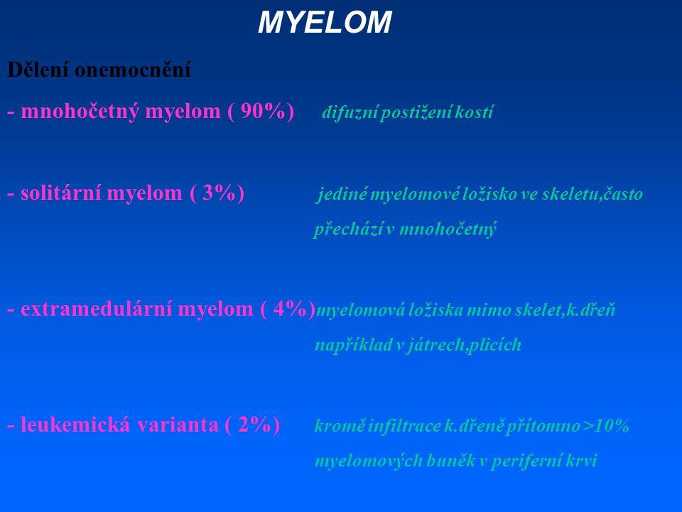MYELOM Dělení onemocnění - mnohočetný myelom ( 90%) difuzní postižení kostí - solitární myelom ( 3%) jediné myelomové ložisko ve skeletu,často přecház