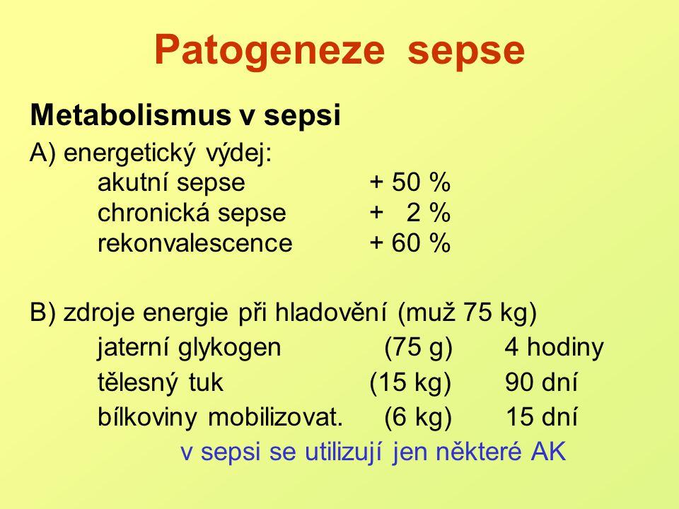 Patogeneze sepse Význam proteinů / aminokyselin zdroj energie nástroje boje s mikroby (PMNs, bílkovny akutní fáze, protilátky,...) rekonstrukce poškozených tkání Zdroje: trávicí trakt (stažení AK z oběhu pro trávení) svaly a pojivové tkáně  septický autokanibalismus (až 300 g svalové tkáně/den !)