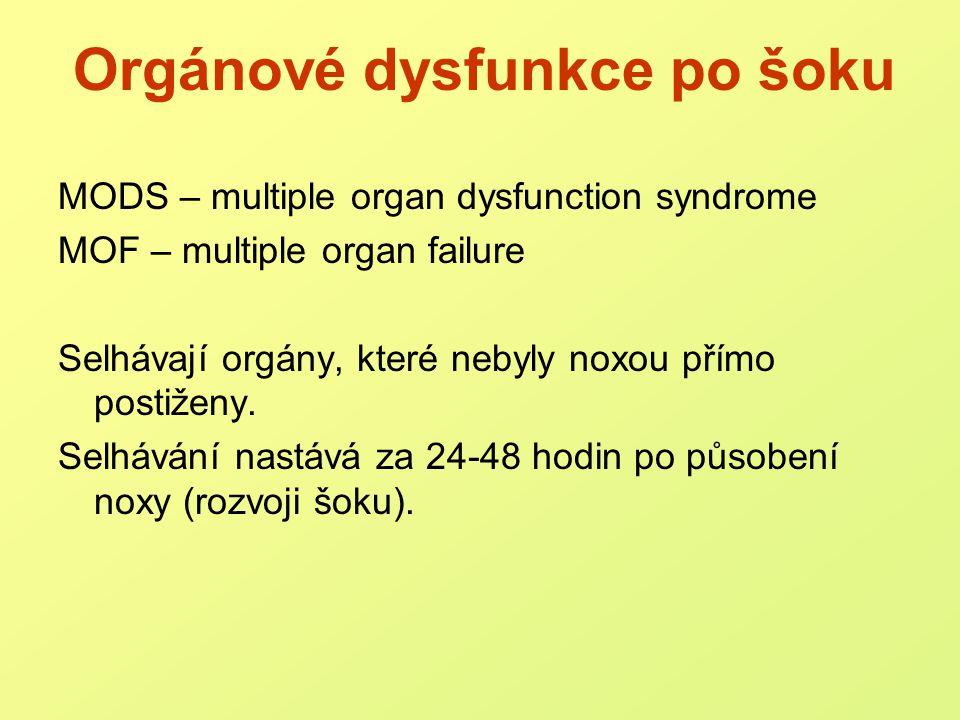 Orgánové dysfunkce v sepsi plíce – ARDS (adult respiratory distress syndrome) ledviny – renální selhání srdce – kardiální selhání (játra – jaterní selhávání) střevo – sekundární sepse, endogenní !.