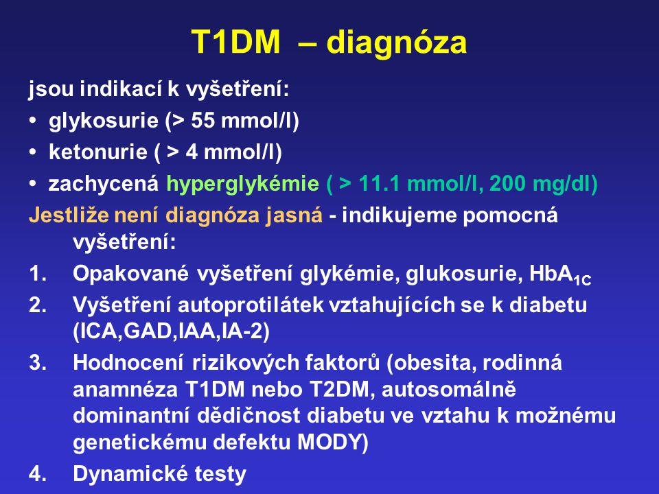 T1DM – diagnóza jsou indikací k vyšetření: glykosurie (> 55 mmol/l) ketonurie ( > 4 mmol/l) zachycená hyperglykémie ( > 11.1 mmol/l, 200 mg/dl) Jestli