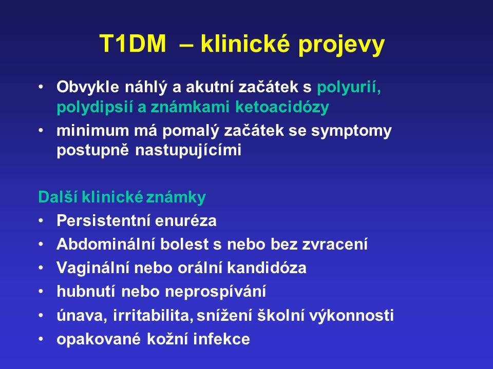 T1DM – klinické projevy Obvykle náhlý a akutní začátek s polyurií, polydipsií a známkami ketoacidózy minimum má pomalý začátek se symptomy postupně na