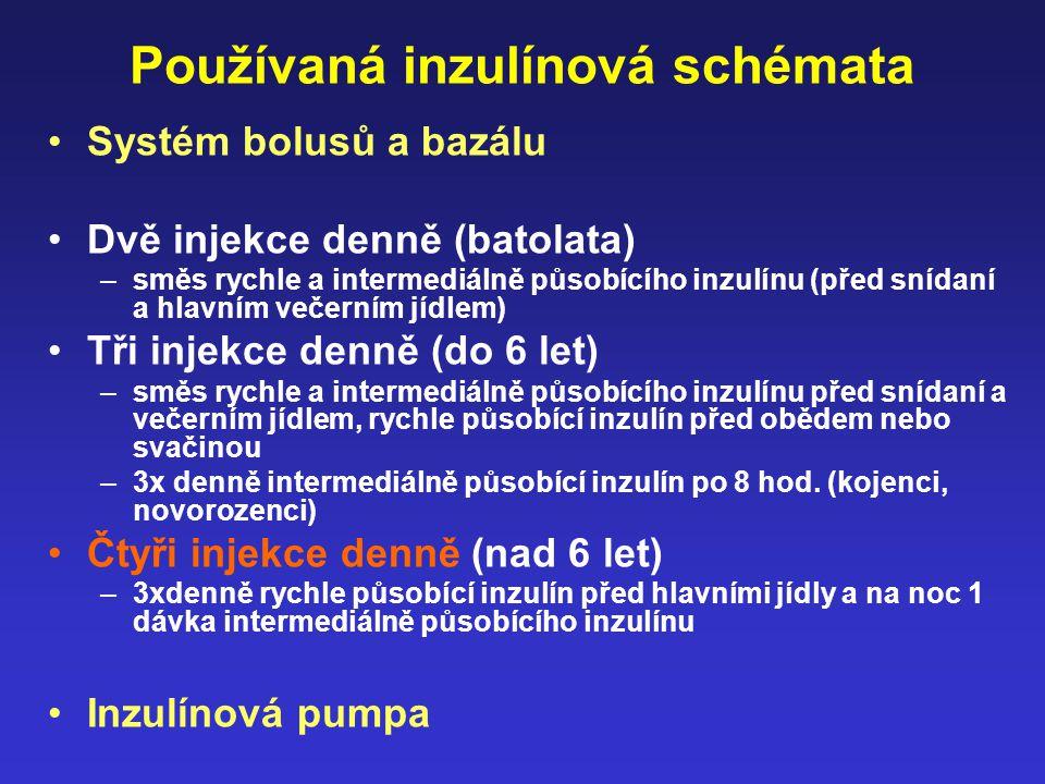 Používaná inzulínová schémata Systém bolusů a bazálu Dvě injekce denně (batolata) –směs rychle a intermediálně působícího inzulínu (před snídaní a hla
