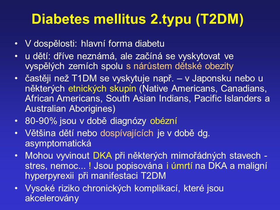 Diabetes mellitus 2.typu (T2DM) V dospělosti: hlavní forma diabetu u dětí: dříve neznámá, ale začíná se vyskytovat ve vyspělých zemích spolu s nárůste