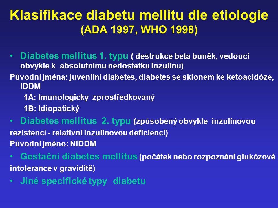 Klasifikace diabetu mellitu dle etiologie (ADA 1997, WHO 1998) Diabetes mellitus 1. typu ( destrukce beta buněk, vedoucí obvykle k absolutnímu nedosta