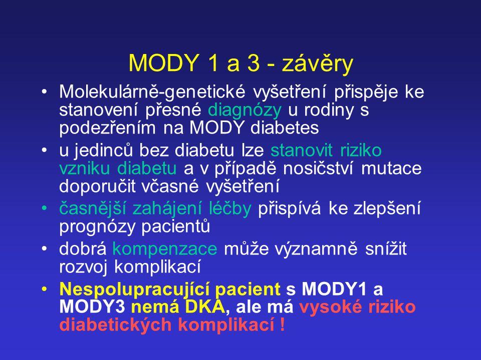 MODY 1 a 3 - závěry Molekulárně-genetické vyšetření přispěje ke stanovení přesné diagnózy u rodiny s podezřením na MODY diabetes u jedinců bez diabetu