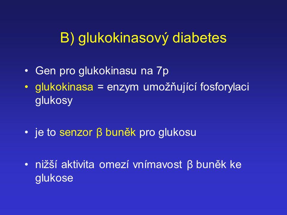 B) glukokinasový diabetes Gen pro glukokinasu na 7p glukokinasa = enzym umožňující fosforylaci glukosy je to senzor β buněk pro glukosu nižší aktivita