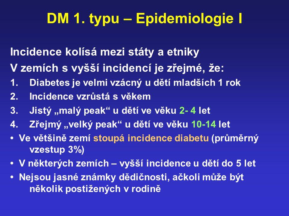DM 1. typu – Epidemiologie I Incidence kolísá mezi státy a etniky V zemích s vyšší incidencí je zřejmé, že: 1.Diabetes je velmi vzácný u dětí mladších
