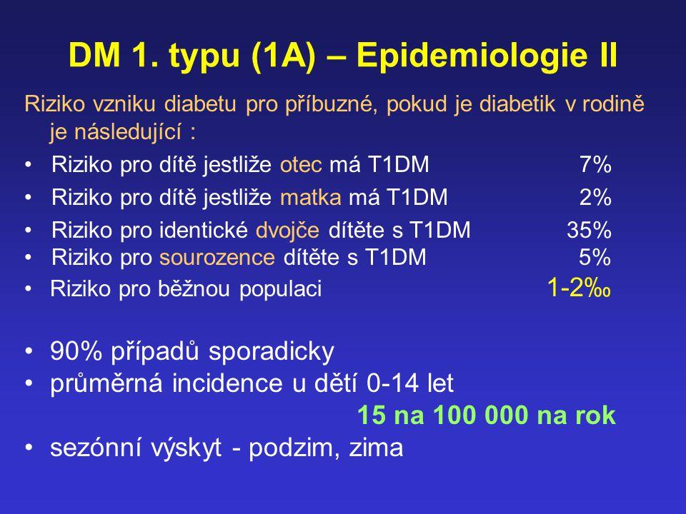 Typ IA DM - Etiologie Imunologicky zprostředkovaná choroba Primární - buněčná imunita –Primární - buněčná autoimunita - T-bb zprostředkovaný proces –Primární autoantigen není znám - specifický epitop insulínu.