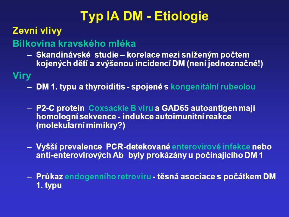 Typ IA DM - Etiologie Zevní vlivy Bílkovina kravského mléka –Skandinávské studie – korelace mezi sníženým počtem kojených dětí a zvýšenou incidencí DM