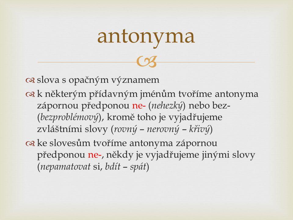   slova s opačným významem  k některým přídavným jménům tvoříme antonyma zápornou předponou ne- ( nehezký ) nebo bez- ( bezproblémový ), kromě toho