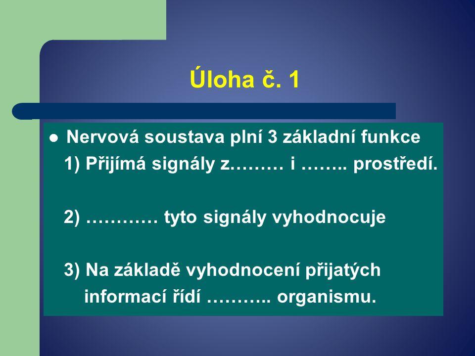 Úloha č. 1 Nervová soustava plní 3 základní funkce 1) Přijímá signály z……… i ……..