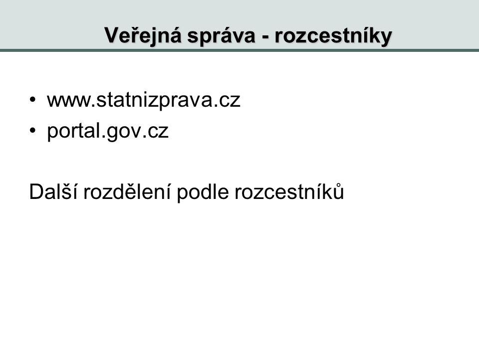 Veřejná správa - rozcestníky www.statnizprava.cz portal.gov.cz Další rozdělení podle rozcestníků