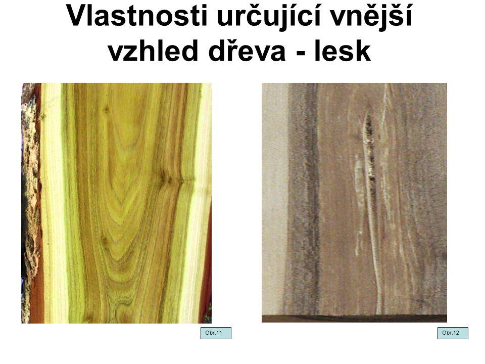 Vlastnosti určující vnější vzhled dřeva - lesk Obr.11Obr.12