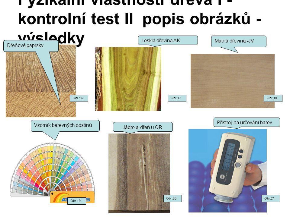 Fyzikální vlastnosti dřeva I - kontrolní test II popis obrázků - výsledky Dřeňové paprsky Matná dřevina -JV Vzorník barevných odstínů Jádro a dřeň u O