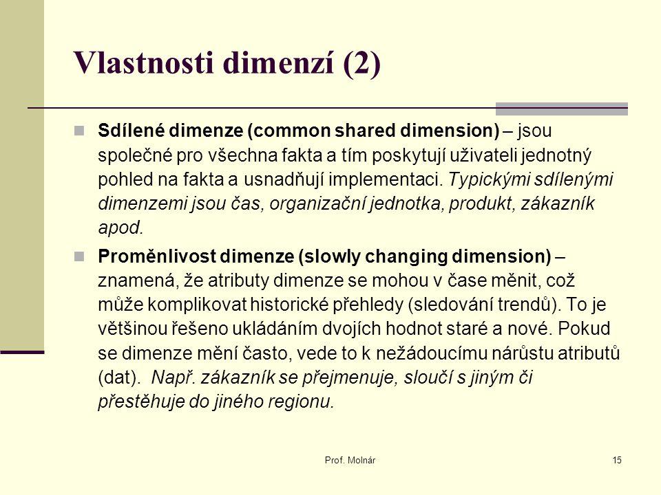 Vlastnosti dimenzí (2) Sdílené dimenze (common shared dimension) – jsou společné pro všechna fakta a tím poskytují uživateli jednotný pohled na fakta a usnadňují implementaci.