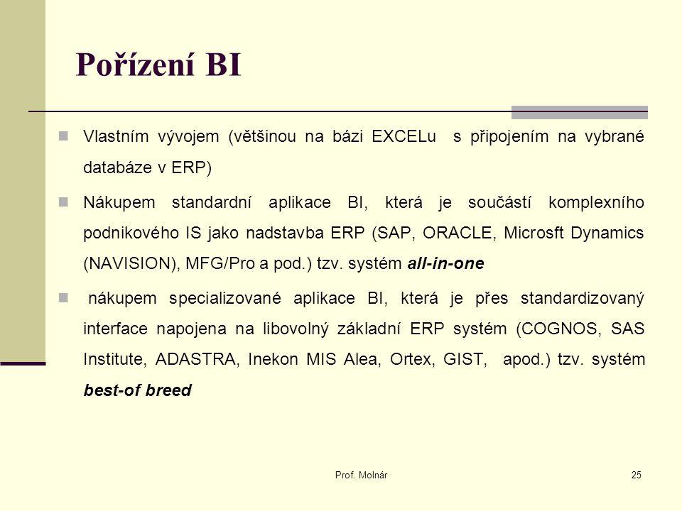 Pořízení BI Vlastním vývojem (většinou na bázi EXCELu s připojením na vybrané databáze v ERP) Nákupem standardní aplikace BI, která je součástí komplexního podnikového IS jako nadstavba ERP (SAP, ORACLE, Microsft Dynamics (NAVISION), MFG/Pro a pod.) tzv.