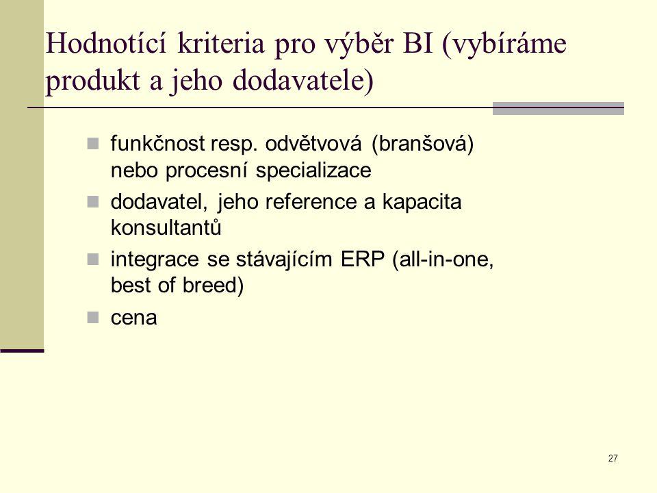 27 Hodnotící kriteria pro výběr BI (vybíráme produkt a jeho dodavatele) funkčnost resp. odvětvová (branšová) nebo procesní specializace dodavatel, jeh
