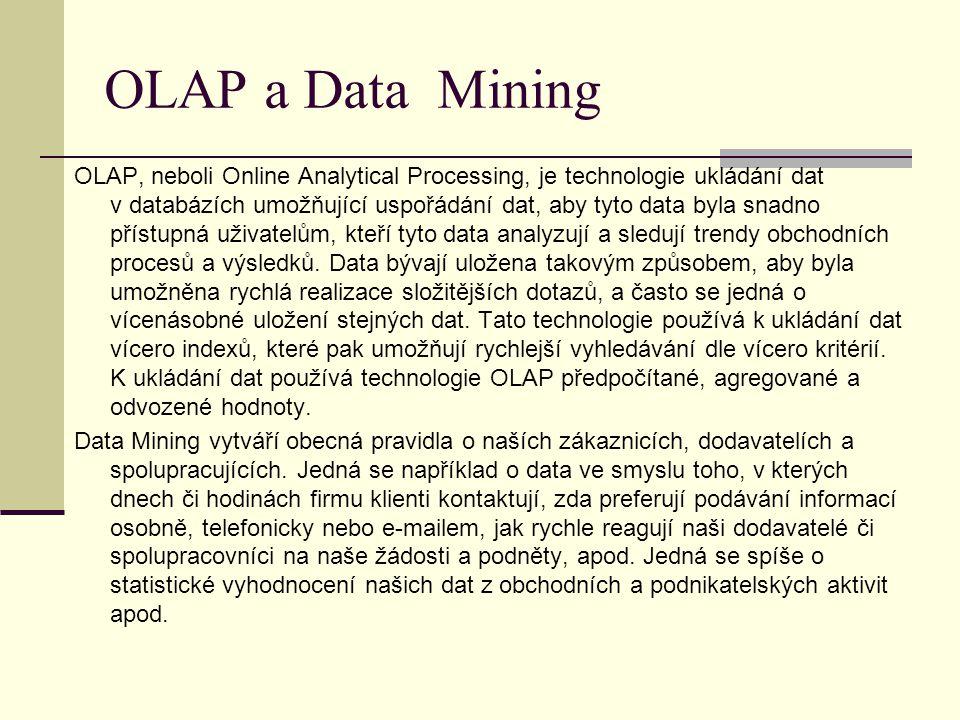OLAP a Data Mining OLAP, neboli Online Analytical Processing, je technologie ukládání dat v databázích umožňující uspořádání dat, aby tyto data byla snadno přístupná uživatelům, kteří tyto data analyzují a sledují trendy obchodních procesů a výsledků.