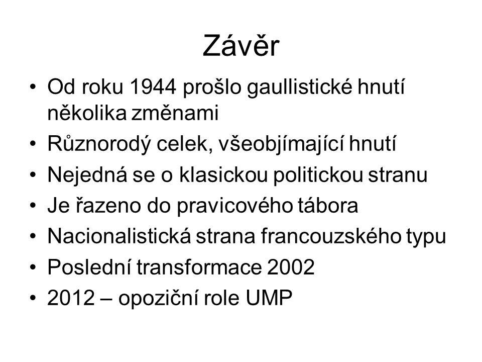 Závěr Od roku 1944 prošlo gaullistické hnutí několika změnami Různorodý celek, všeobjímající hnutí Nejedná se o klasickou politickou stranu Je řazeno