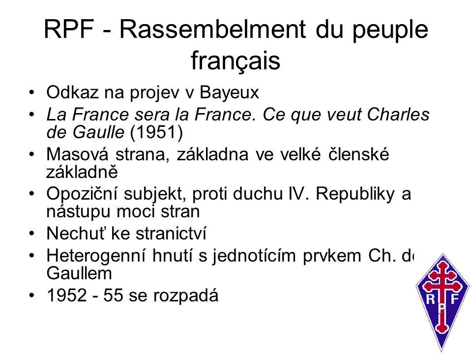 RPF - Rassembelment du peuple français Odkaz na projev v Bayeux La France sera la France. Ce que veut Charles de Gaulle (1951) Masová strana, základna