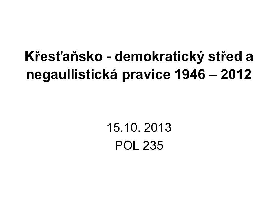 Křesťaňsko - demokratický střed a negaullistická pravice 1946 – 2012 15.10. 2013 POL 235