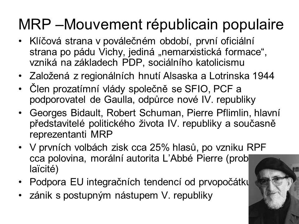 """Klíčová strana v poválečném období, první oficiální strana po pádu Vichy, jediná """"nemarxistická formace"""", vzniká na základech PDP, sociálního katolici"""